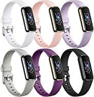 Maledan 6 Pack Bands Compatible with Fitbit Luxe Bands for Women Men, Soft Silicone Adjustable Waterproof Spor