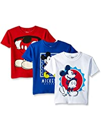 Boys' Toddler Mickey Mouse 3-Pack Short Sleeve T-Shirt,