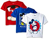 Disney Boys' Toddler Mickey Mouse 3-Pack Short Sleeve T-Shirt,