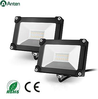 Anten 10 W Proyector LED Exterior Impermeable, 4000 K Slim foco LED, luz de inundación luz de seguridad para muros Personal, pergolas, jardín (2pcs): Amazon.es: Iluminación