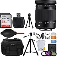 Sigma 18-300mm f/3.5-6.3 DC MACRO OS HSM Contemporary Lens for Canon EF + Lens Case + 32GB Memory Card + 72mm Filter Kit + 57 Inch Tripod - Top Bundle