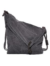 Unisex Canvas Shoulder Bag Casual Cross Body Messenger Large Capacity Handbag Hobo Style Tote Travel Bag