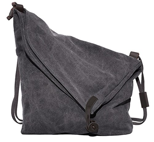 Unisex Canvas Shoulder Bag Casual Cross Body Messenger Large Capacity Handbag Hobo Style Tote Travel Bag (Canvas Messenger Friendly Eco)