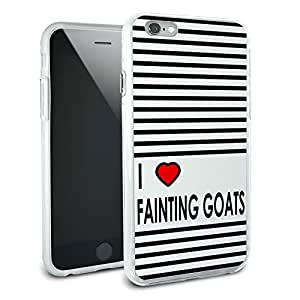 I Love Heart Fainting Goats Protective Slim Hybrid Rubber Bumper Case for Apple iPhone 6 6s Plus