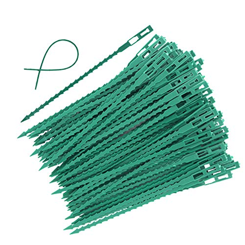 EuTengHao 100 Pieces Adjustable Garden Plant Twist Ties, 6.7 Inch Flexible Plastic Twist Ties Multi-Use for Secure Vine (Green) ()