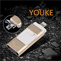 iPhone USB Flash Drive, 3 in 1 OTG Memory Stick USB 3.0 External Storage Expansion Adapter for iPhone, iPad, MacBook iOS Android Cell Phone PC Gold