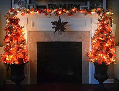 Comtelek 4 Pack Fall Maple Leaf Garland with LED String Lights, 7Ft/Piece Artificial Leaves Hanging Vines Autumn Garland for Thanksgiving Decorations,Fireplace Mantel,Home,Wedding,Thanksgiving Gifts