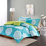 Modern Teen Bedding Girls 4 Piece Reversible Comforter Set Aqua Teal Blue Lime Green Floral Damask Print. Includes Bonus Sleep Mask From Designer Home. (Twin/twin Xl)