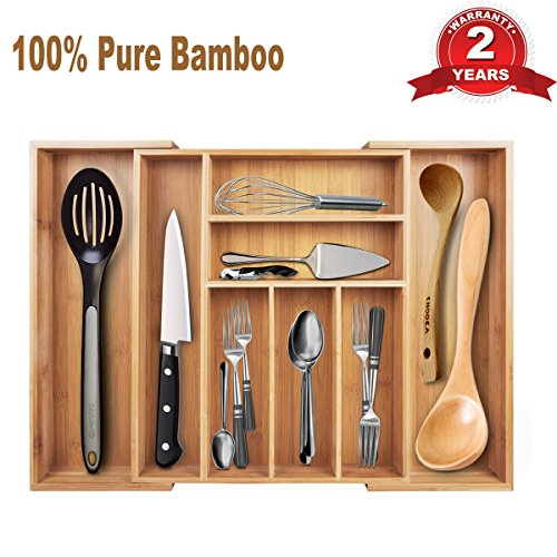 Expandable Bamboo Flatware Tray Cutlery and Utility Drawer Organizer 8 Compartments 2 with Adjustable Dimensions Beautiful Durable and 100% Pure (Clear Cutlery Tray)