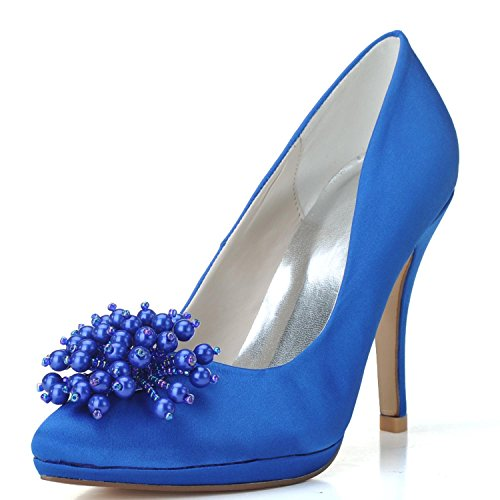 3 Scarpe Platform 6 Satin 8 9 Donna 25 Dress Blue Elobaby da 5 4 Damigella Pump Chiuse Dita Sposa da X0255 D'Onore 7 74ZdqwH