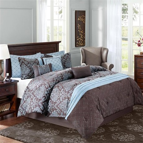 Chocolate Brown And Blue Bedding Sets - Blue and brown comforter sets