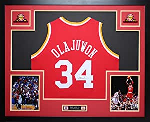 Hakeem Olajuwon Autographed Signed and Framed Red Rockets Jersey Auto JSA COA (Free Shipping!!)