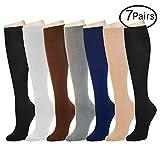 7 Pairs Compression Socks For Women and Men -- Best Medical, Nursing, Athletic, Edema, Diabetic,Varicose Veins,Maternity,Travel,Flight Socks ,Shin Splints - Below Knee High (Small/medium, Assort 1)
