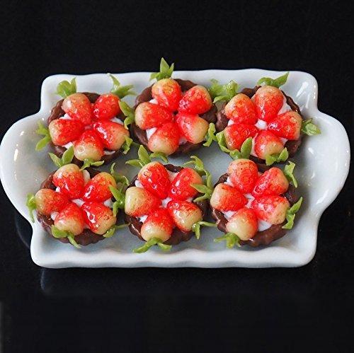 Dollhouse Miniature Food Bakery 6 Chocolate strawberry Tart Pies on Tray