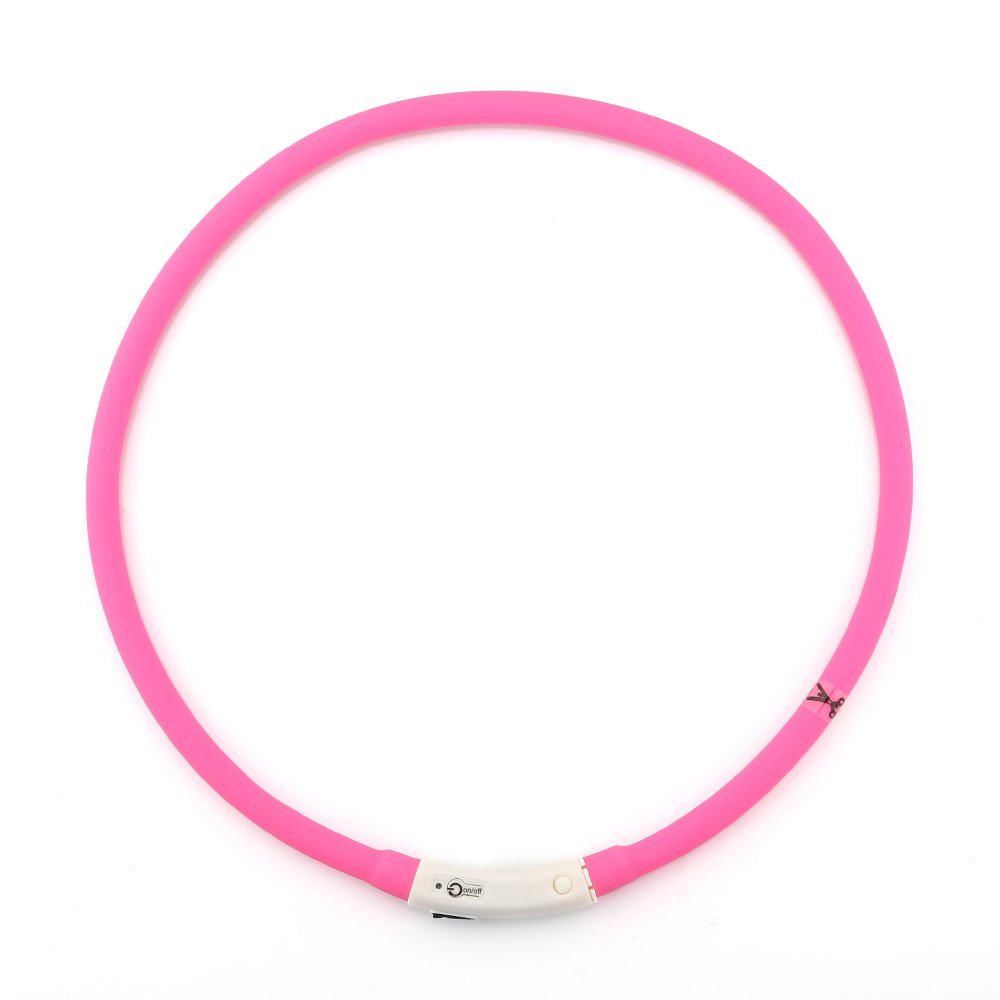 ZOGIN Collar de perro LED, collar de seguridad recargable USB para perro gato y otro animal doméstico, color rosa