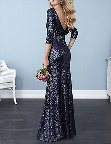Prom Dresses DreHouse Party Sleeves Dress Wedding Backless Women's Half with Sequins Black Mermaid 6wAATxqaFC