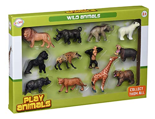 Playkidz Animal Figures, Jungle Animal Toy Set 12 Pieces, Toys Realistic Wild Vinyl Animals for Kids, Toddler, Child, Plastic Animal Party Favors Learning Forest Farm Animal Toys Playset.
