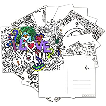 Amazon.com : \'Beautiful Day\' Stress Relief Coloring Postcards Set ...