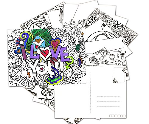 N-Green Coloring Greeting Cards Postcards Stress Relieving - Import ...
