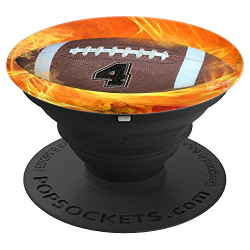 """American Football Number """"4"""" Lucky Number Flame - Football - PopSockets Grip and Stand for Phones and Tablets -  American Football Number 4 Phone Pop Art Gift, 260027"""