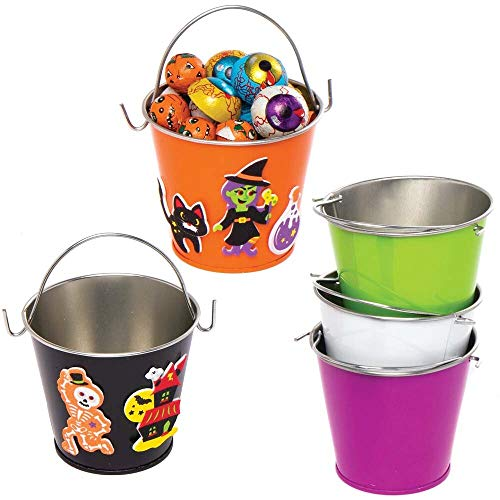 Baker Ross AX170 Mini Halloween Tin Bucket – Pack of 5, Halloween Decorations for Kids to Decorate and Display, Ideal…