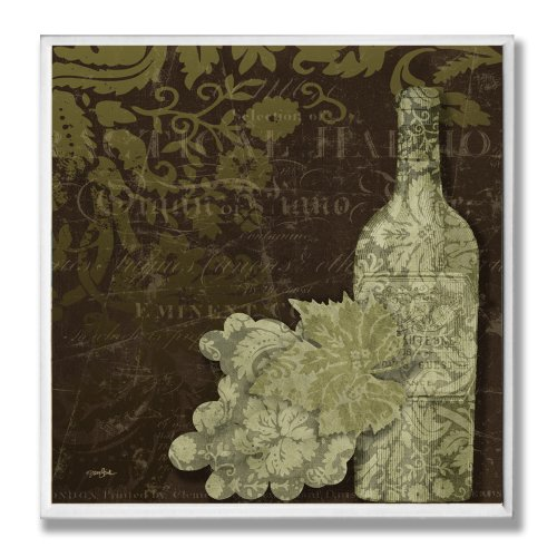 The Stupell Home Decor Collection Green Damask Wine Bottle Wall Plaque