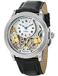 Men's 368B.33152 Symphony Aristocrat Gemini II Automatic Skeleton Silver Tone Black Leather Strap Watch