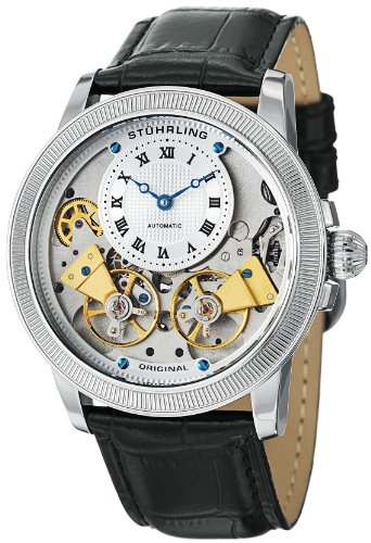 Stuhrling Original Men's 368B.33152 Symphony Aristocrat Gemini II Automatic Skeleton Silver Tone Black Leather Strap Watch