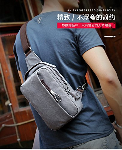 Pockets Sports Man Shoulder Gray Fashion Chest Trend Casual Canvas Bag Flht Backpack Messenger Small fvx7WnWF