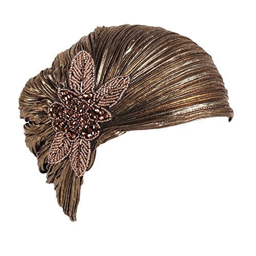 Muranba Women Ladies Retro Big Flowers Hat Turban Brim Cap (Gold)