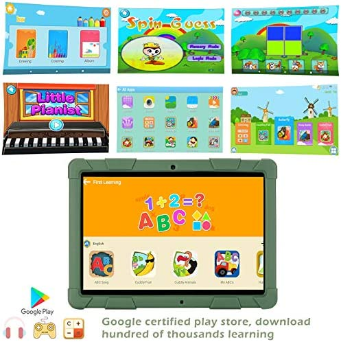 GBD Kids Tablet 10.1 Inch Android Tablet PC 3G Phone With Dual Sim Card Slots Dual Camera, 1280x800 IPS HD Display, Quad Core 2GB RAM 32GB ROM, WiFi, GPS, Parental Control, Dark Green