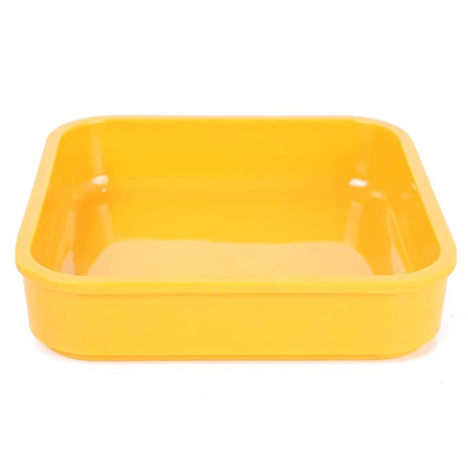 Amazon.com: DealMux Praça Plástico Salada em forma de bandeja Dish Pot placa amarela: Kitchen & Dining