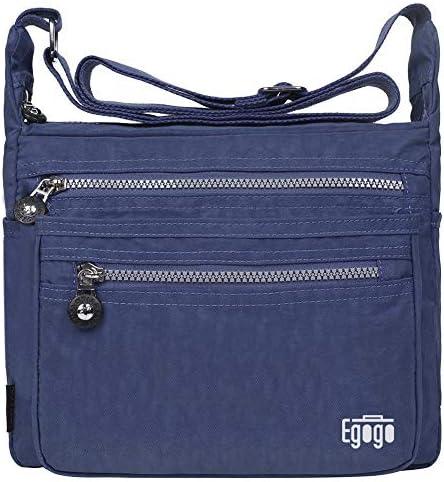 Bleu Fonc/é EGOGO Femme Messenger Sac /à Bandouli/ère Voyage Sacs /à main avec Muliti Poches E303-1
