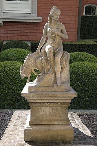 Figura de mujer sentada con cabra, piedra, Jardín Figura, beige: Amazon.es: Jardín