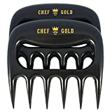 Chef Gold Premium Pork Shredder Set - BPA Free - The Best Solid Bear Claw Design for Shredding Pulled Pork and Handling BBQ. Your Perfect Meat Claw Tool for Over the Grill, Smoker or Barbecue Pit.