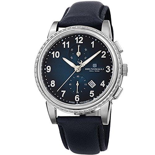 - Bruno Magli Men's Dante 1002 Swiss Chronograph Quartz Italian Leather Strap Watch (Blue)
