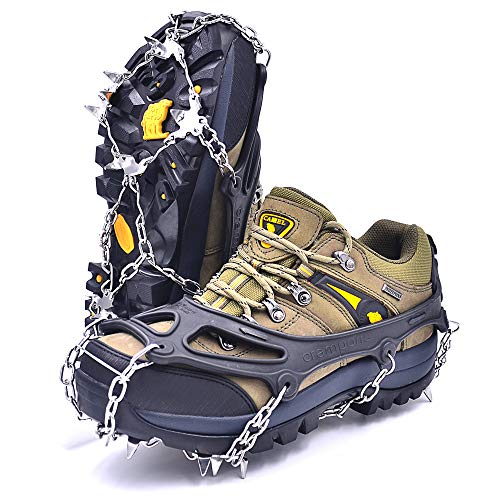 Leanking Ice Snow Grips, Traction Cleats Ice Cleats with 18 Spikes for Walking, Jogging, Climbing and Hiking on Snow, Ice, Mud, Sand and Wet Grass (Black, L) (Best Shoes For Ice Grip)