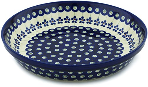 Polish Pottery Pie Dish 10-inch Flowering Peacock by Polmedia Polish Pottery