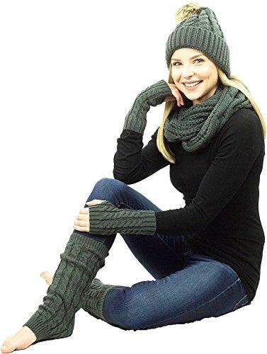 cb6859c6dc6 Exotic Identity Women s Hat Infinity Scarf Gloves Leg Warmers Tundra Gift  Set EX1074