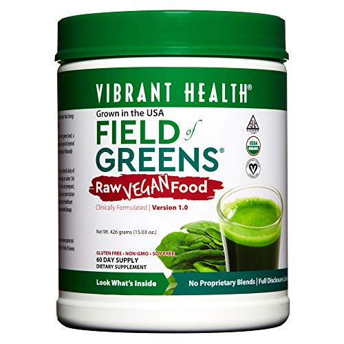 Vibrant Health - Field of Greens, Raw Vegan Food to Support Balanced Nutrition and Immunity on a Plant-Based Diet with Vitamins and Minerals, Organic, Kosher, Vegan, 60 Servings (FFP)