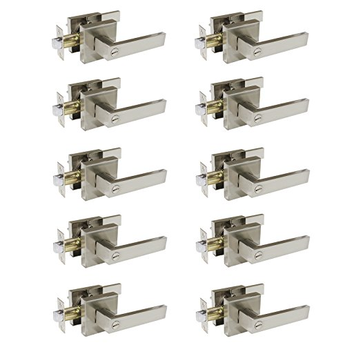 Plate Lever Handle - Gobrico Bedroom Bathroom Door Handle Lever with Square Plate Interior Privacy Door Lock in Satin Nickel 10Pack