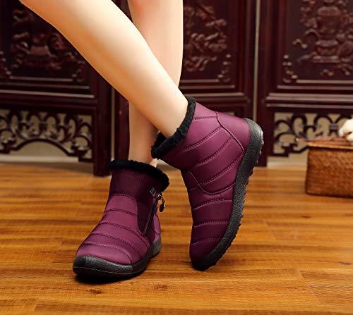 Zapatillas Rojo alto Zapatos Nieve Mujer De Antideslizante Sneakers Tobillo Rojo Altas Libre Forro Botas Al 35 Outdoor Invierno 43 Azul Negro Calentar Aire qqPUxn4Bw
