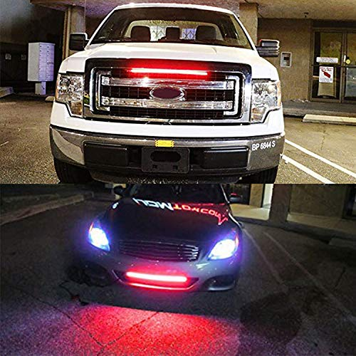 (SHIYANLI 1 PCS 32cm 42cm Car Headlight bar red Flash Police Warning Light Strip led Strobe Light for Grille with Turn Signal Follow,22)