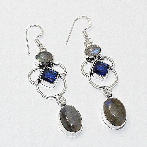 - Natural Labradorite, Blue Quartz Hydro Earring Silver Overlay Fashion Jewellery Fancy Tribal Designer Statement Prom 2.50 Inch Sale.