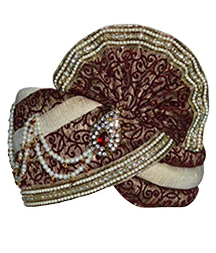 INMONARCH Mens Embroidered Wedding Turban pagari safa hat for Groom TU2248 22-inch Cream by INMONARCH