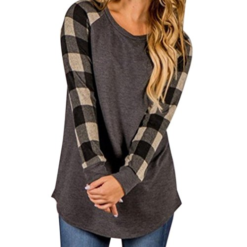 Gocheaper Women O-Neck Plaid Mosaic Shirt Long Sleeve Sweatshirt Pullover Tops Blouse Shirt (S, Gray 2)