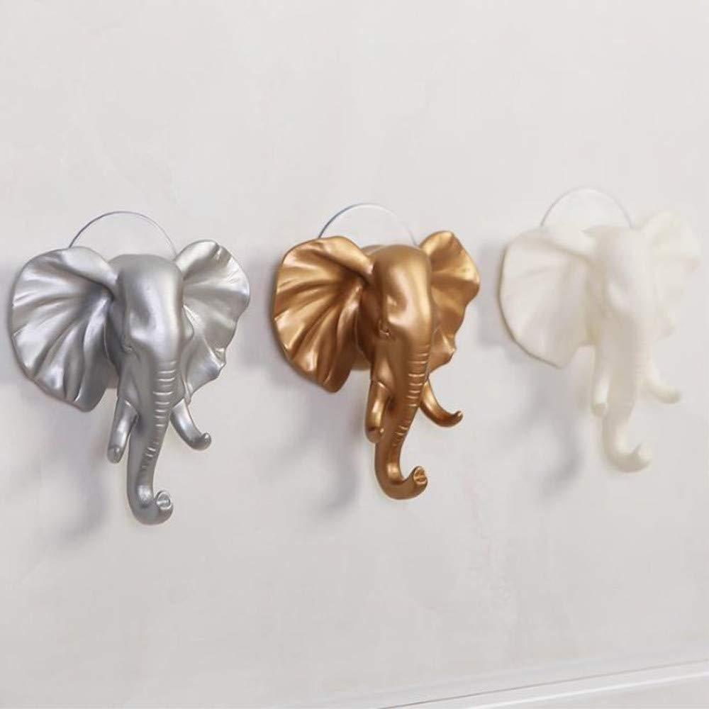 HANANei Sticky Holder, Lovely Elephant Head Self Adhesive Wall Door Hook Hanger Bag Keys for Home, Office, Closet Storage (Silver) by HANANei (Image #6)