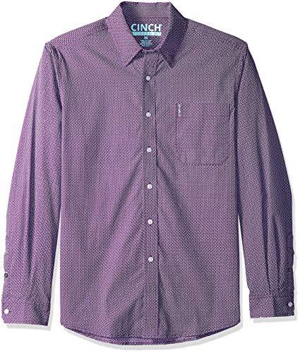 Cinch Men's Modern Fit Long Sleeve Button One Open Pocket Print Shirt, Purple Check, XXL