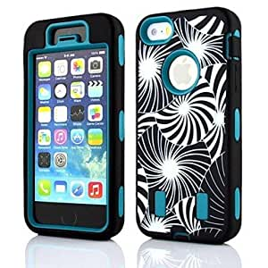 SUMCOM 2 in 1 Dandelion Robot Style PC and Sillcone Composite Case for iPhone 5/5S(Assorted Colors) , Black