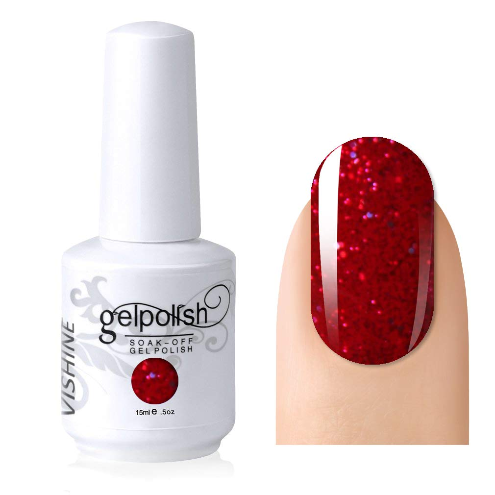 Vishine Gelpolish Lacquer Shiny Color Soak Off UV LED Gel Nail Polish Professional Manicure Glitter Red(1550)